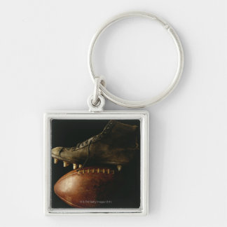 Football and Cleat Silver-Colored Square Keychain