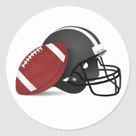 Football And Helmet Classic Round Sticker