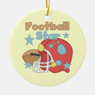 Football and Helmet Football Star T-shirts Ceramic Ornament