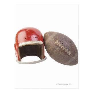 Football and helmet postcard