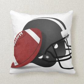 Football And Helmet Throw Pillows