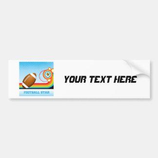 Football and Rainbow Stripe FOOTBALL Star Bumper Sticker