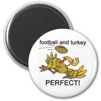 Football and Turkey PERFECT! 2 Inch Round Magnet