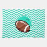 Football; Aqua Green Chevron Hand Towel