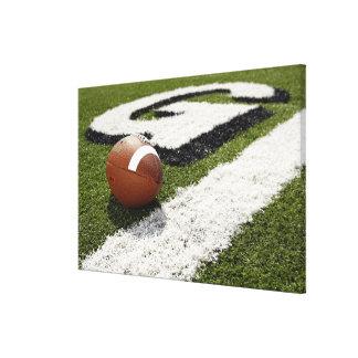 Football at goal line on football field, canvas print