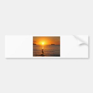 Football at sunset bumper sticker