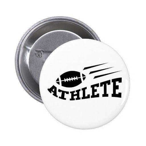 Football athlete black print 2 inch round button