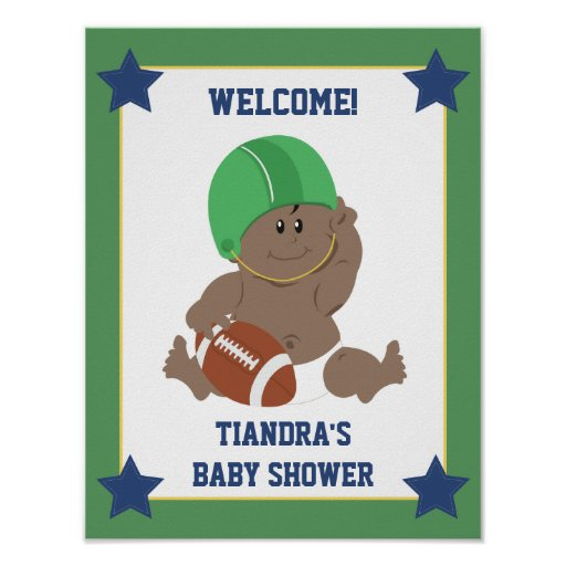Football Baby African American Welcome Sign Poster