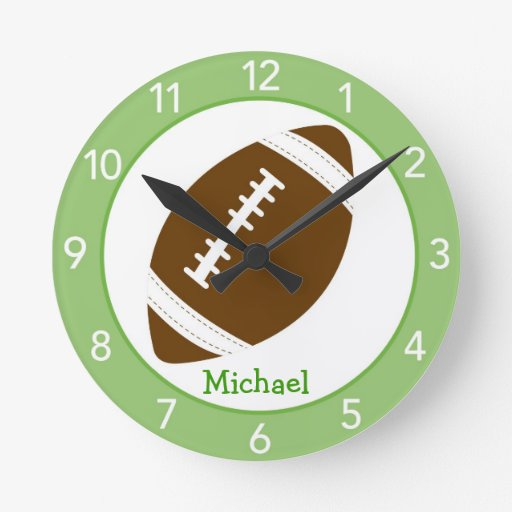 Football Baby Boy Nursery Wall Clock