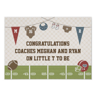 Football Baby Couples Co-ed Baby Shower Banner Poster