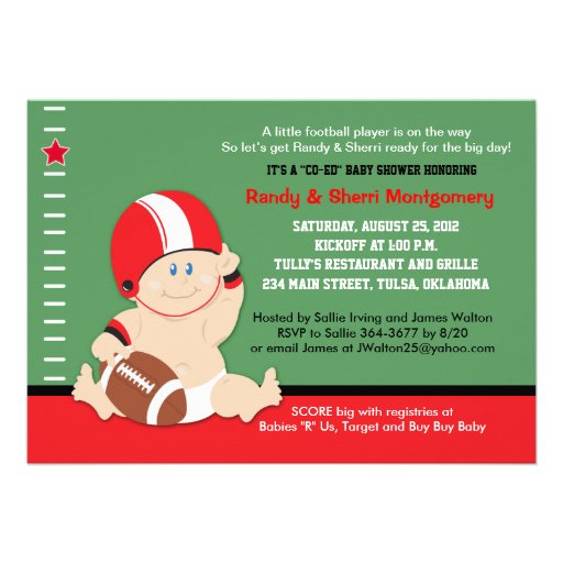 football baby red black sports baby shower 5 x 7 invitation car