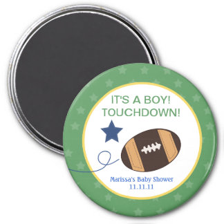 Football Baby Shower 3-inch Round Favor Magnet
