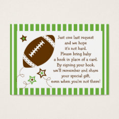 Football Baby Shower Book Request Cards at Zazzle