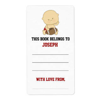 Football Baby Shower Bookplate Labels