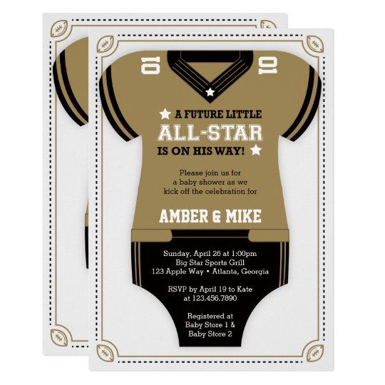 Football Baby Shower Invitation Gold Black Invitation Zazzle Com