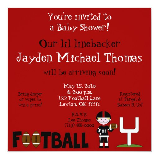 football baby shower our linebacke invitation zazzle