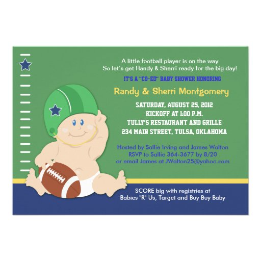 football baby sports theme baby shower invite zazzle