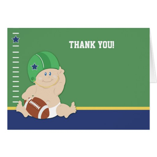 Football Baby Sports theme Folded Thank you notes