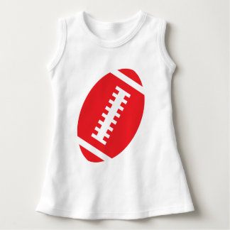 FOOTBALL BABY White | Front Red Football Graphic Dress
