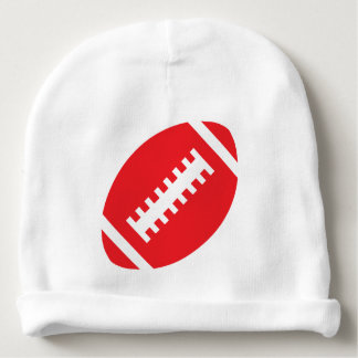 FOOTBALL Baby White | Sporty Red Football Graphic Baby Beanie