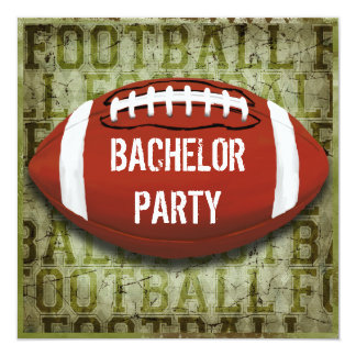 Football Bachelor Party Vintage Green Grunge Invitation