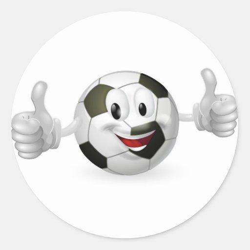 Football Ball Mascot Classic Round Sticker