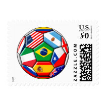 football ball with flags postage