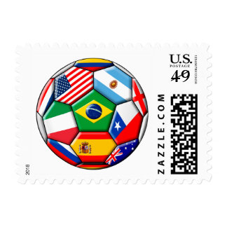 football ball with flags stamp