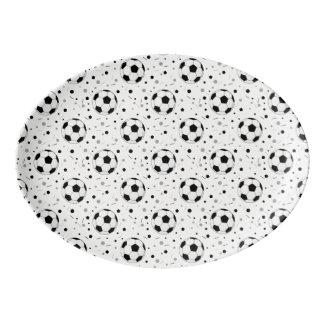 Football balls pattern porcelain serving platter