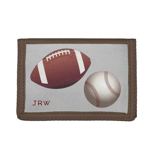 Football Baseball Sports Lover Monogrammed Trifold Wallet