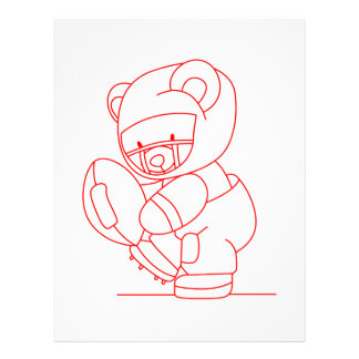 Football Bear Redwork Letterhead