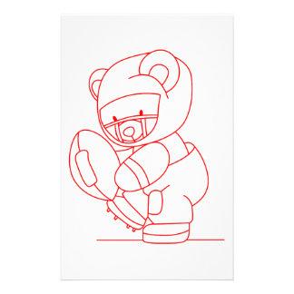 Football Bear Redwork Stationery