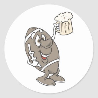 Football Beer Classic Round Sticker