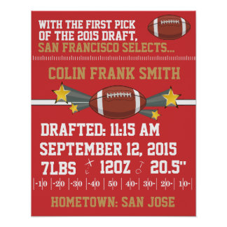 Football Birth Announcement - Red & Gold Poster