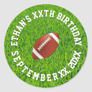 Football Birthday Celebration Classic Round Sticker