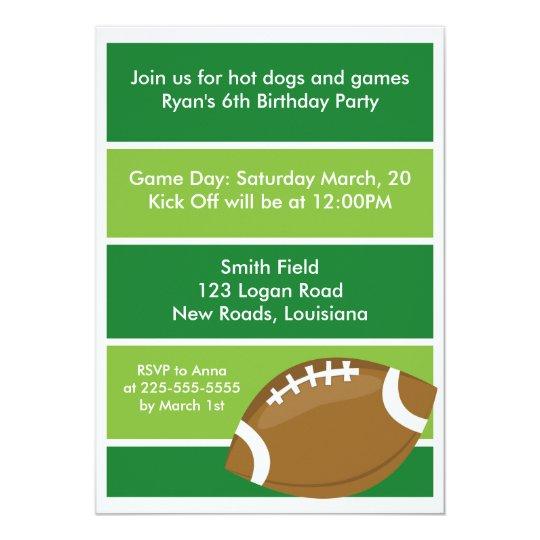 Football Birthday Party Card