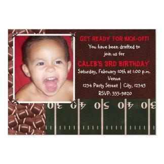 Football Birthday Party Event Photo Invitation