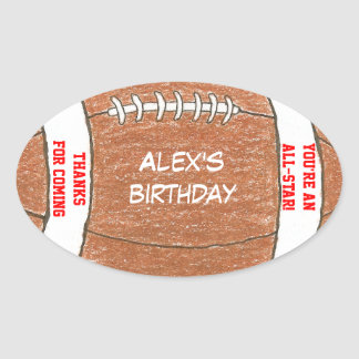 Football birthday party favor label oval stickers