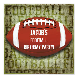 Football Birthday Party Vintage Green Grunge 5.25x5.25 Square Paper Invitation Card