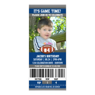 Football Birthday Photo Template 4x9.25 Paper Invitation Card