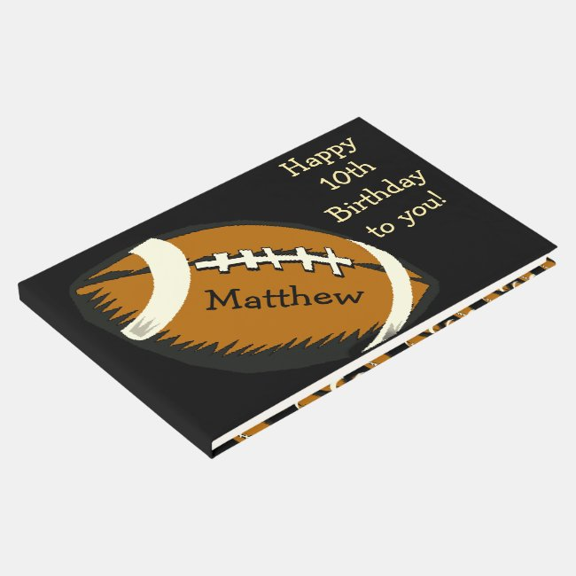 Football Birthday Sports Guest Book