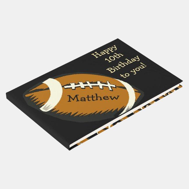 Football Birthday Sports Guest Book