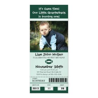 Football Birthday Ticket 4x9.25 Paper Invitation Card