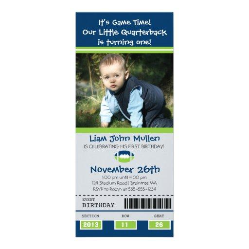 Football Birthday Ticket Custom Invites