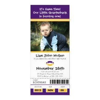 Football Birthday Ticket Custom Announcement Card