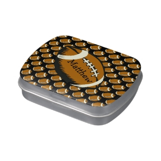 Football Black and Brown Sports Candy Tin
