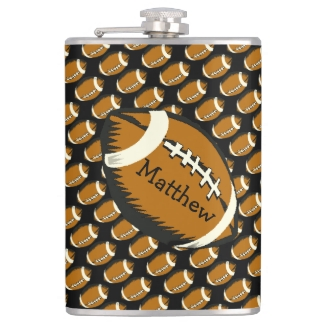 Football Black and Brown Sports Flask
