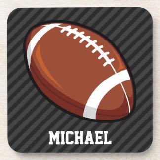 Football; Black & Dark Gray Stripes Coaster