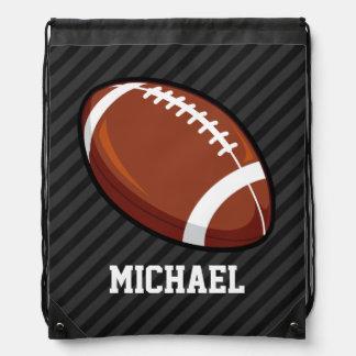Football; Black & Dark Gray Stripes Drawstring Bag