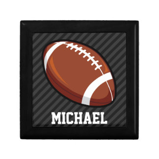 Football; Black & Dark Gray Stripes Jewelry Boxes